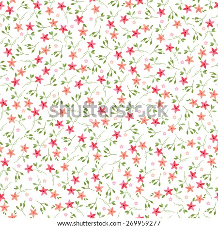 small vector flowers seamless pattern #269959277