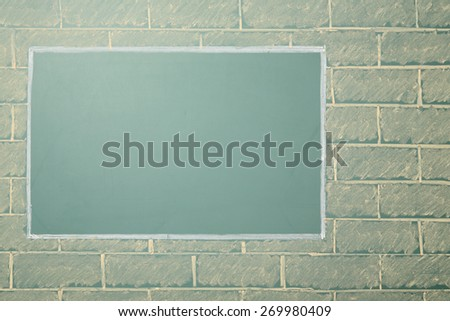 Unusual chalk drawing of blackboard with copy space on brick wall #269980409