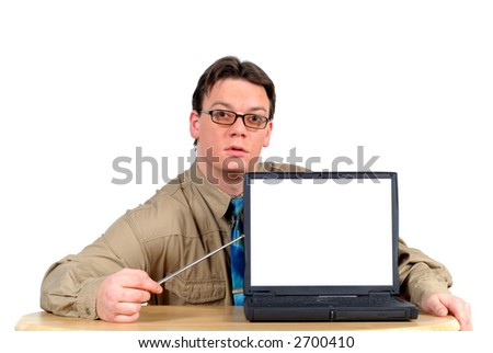 Young businessman with laptop, powerpoint presentation. Room to add own text. Business, communication,  corporate concept.