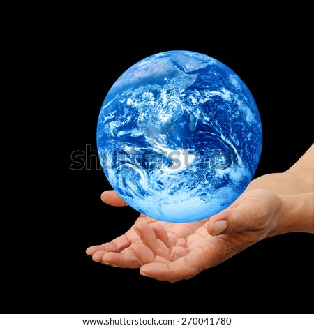Human hands palm up with global image over white Elements of this image furnished by NASA #270041780