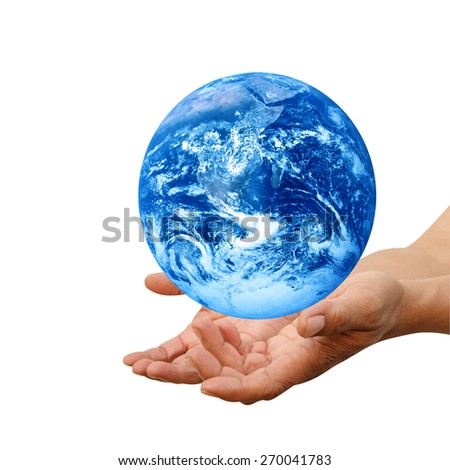 Human hands palm up with global image over white Elements of this image furnished by NASA #270041783