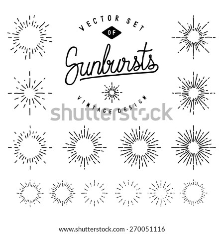 Collection Of Retro Sunburst Shapes For Your Design. Set Of Vintage Light Rays. Hand-Drawn Vector Design Elements. Royalty-Free Stock Photo #270051116