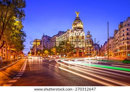 Madrid, Spain cityscape at night. #270312647