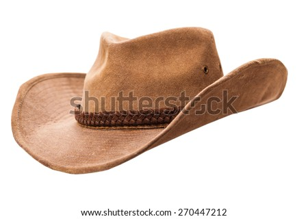 cowboy hat closeup isolated on a white background