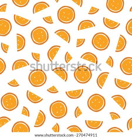 Seamless orange slices pattern. Vector. #270474911