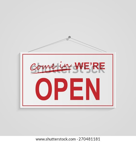 Illustration of a hanging open sign isolated on a white background. #270481181