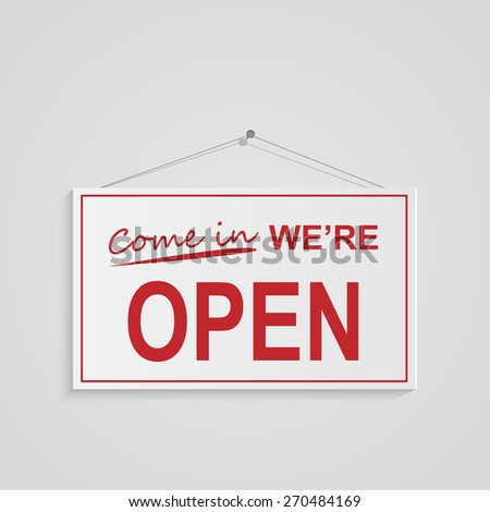 Illustration of a hanging open sign isolated on a white background. #270484169