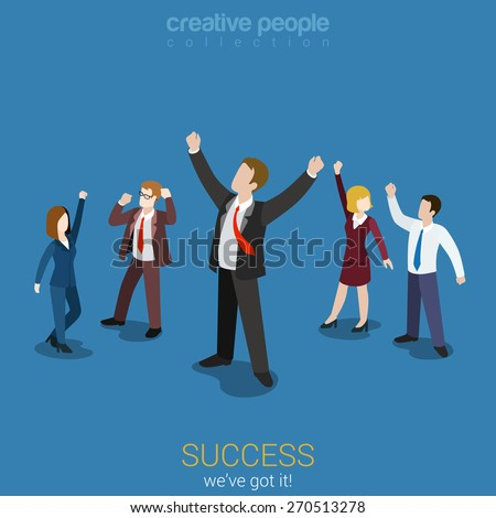 Success in business flat 3d web isometric infographic vector. Happy successful businesspeople group. Creative people collection. #270513278
