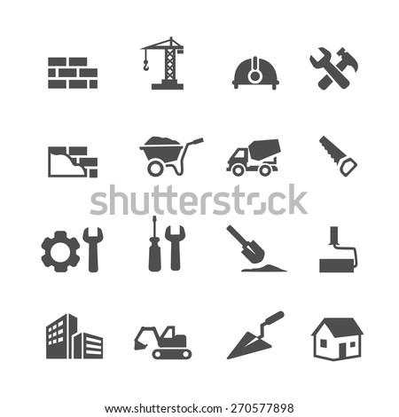 Construction Icons Set on White Background.  Vector illustration Royalty-Free Stock Photo #270577898