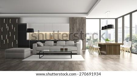 Interior of the modern design  loft  3D rendering  #270691934
