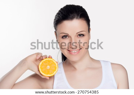 Beautiful close-up portrait of young woman with oranges. Healthy food concept. Skin care and beauty. Vitamins and minerals. #270754385