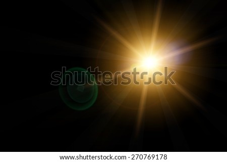 Vector star, sun with lens flare on dark background Royalty-Free Stock Photo #270769178