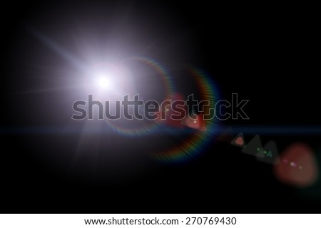 Vector star, sun with lens flare on dark background Royalty-Free Stock Photo #270769430