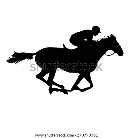 Horse race. Derby. Equestrian sport. Silhouette of racing horse with jockey on isolated background. Horse and rider. Racing horse and jockey silhouette. Eps 8