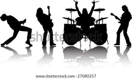 the raster musicans silhouettes set #27080257