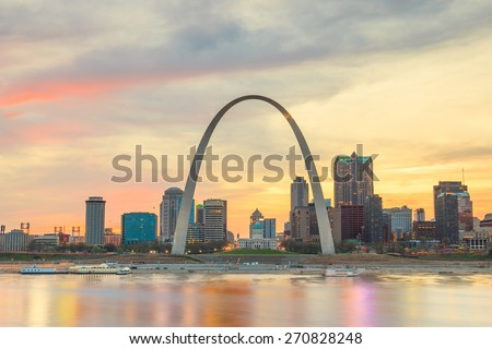 City of St. Louis skyline. Image of St. Louis downtown  at twilight. Royalty-Free Stock Photo #270828248