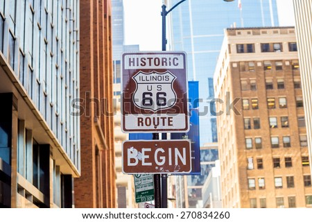 Route 66 sign, the beginning of historic Route 66, leading through Chicago, Illinois. #270834260