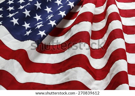 Closeup of ruffled American flag #270839612