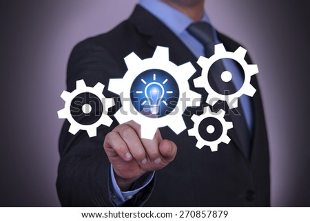 Idea And Gear Touch with Businessman Hand #270857879