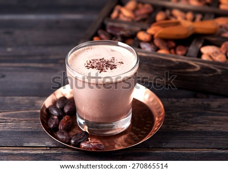 Cocoa with chocolate and cocoa beans #270865514