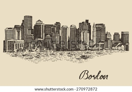 Boston skyline, big city architecture, vintage engraved vector illustration, hand drawn, sketch.