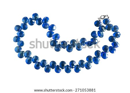 Blue sapphire necklace isolated over white #271053881