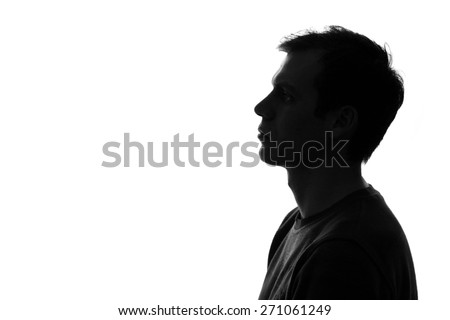 black-and-white silhouette of head of sad caucasian man on a white isolated background Royalty-Free Stock Photo #271061249