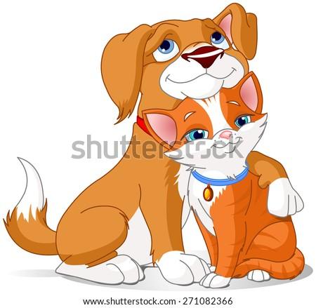Illustration of a Cute Dog hugging a Cat