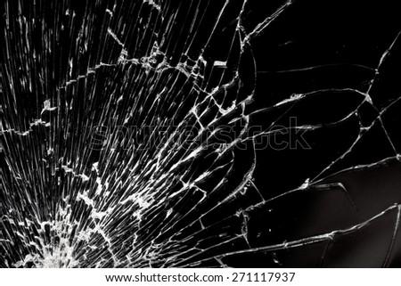 Broken glass - white lines on black background, design element