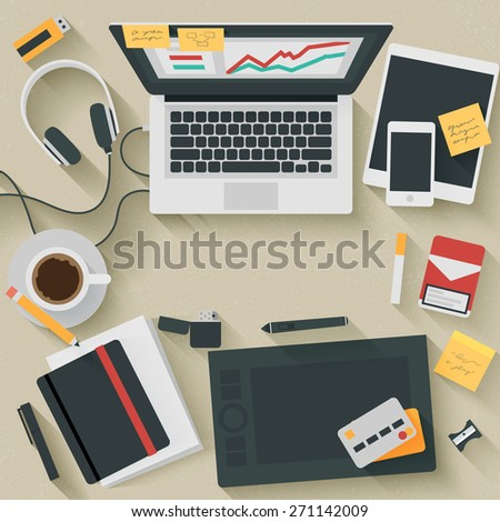 Trendy Flat Design Illustration: Hardworking. Icons set of business work flow items, elements and gadgets #271142009