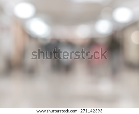 Blurred abstract background of people walking in underground shopping mall in Tokyo  #271142393