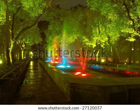Fountain in sidewalk