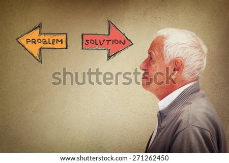 photo of senior man thinking. problem and solution concept