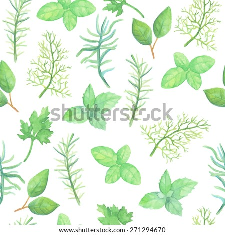 Watercolor herbs seamless pattern #271294670