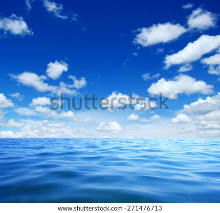 Blue sea water surface on sky #271476713