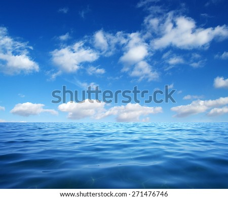 Blue sea water surface on sky #271476746