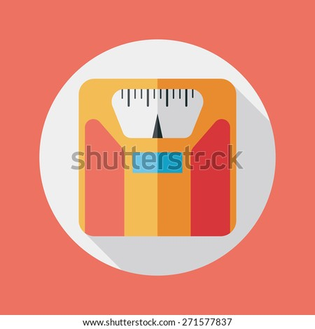 Flat style with long shadows, weight scale  icon illustrat