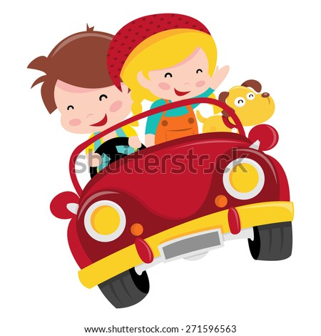 A cartoon vector illustration of two happy kids, boy and girl, riding a red convertible car with their pet dog.