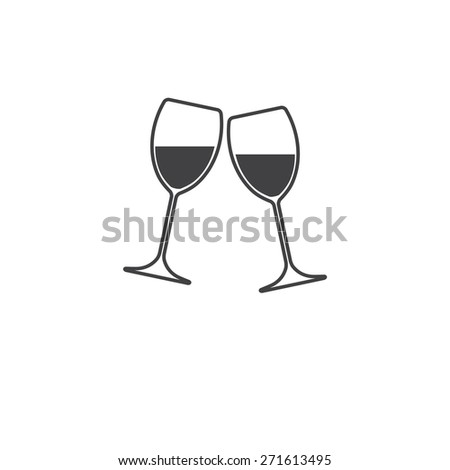 Two glasses of wine or champagne on white background. Cheers icon.