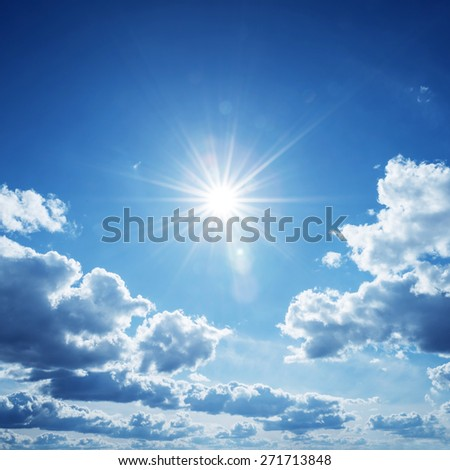 Blue sky with clouds and sun. #271713848