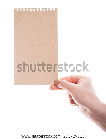 Handmade paper card in woman hand isolated on white background   #271729313