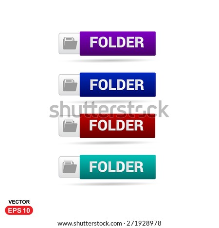 Folder Icon Button. Abstract beautiful text button with icon. Purple Button, Blue Button, Red Button, Green Button, Turquoise button. web design element. Call to action gray icon button #271928978