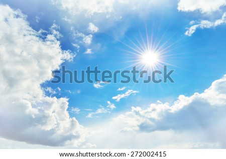 cloudy sky and the sun with rays #272002415