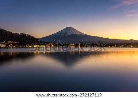 Mt. Fuji, Japan at Lake Kawaguchi after sunset. #272127119