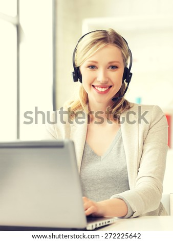 picture of helpline operator with laptop computer. #272225642