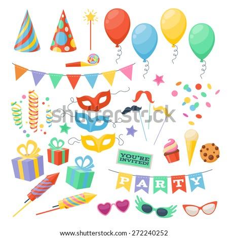 Celebration party carnival festive icons set. Colorful symbols - hat, mask, gifts, balloon. Royalty-Free Stock Photo #272240252