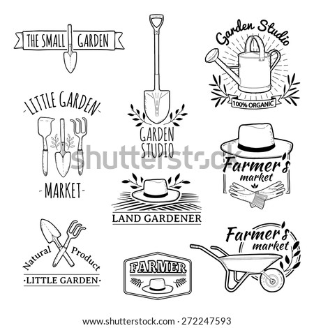 Set of vintage monochrome retro logos, badges, badges, labels. Shop garden, farm, organic garden. Vector.