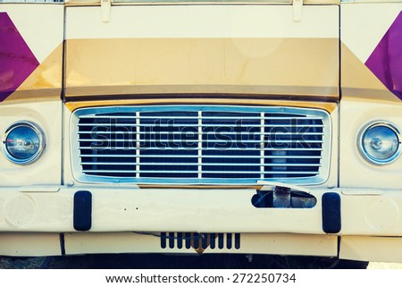 Close-up photo of retro car headlights #272250734