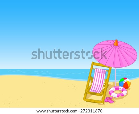 Illustration of summer beach with chaise lounge