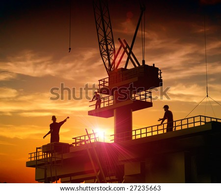 Group of the workers on a background of the sky #27235663